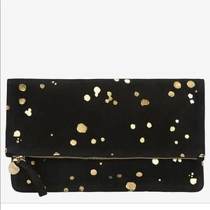 Clare V Supreme Black Suede and Gold Foil Clutch